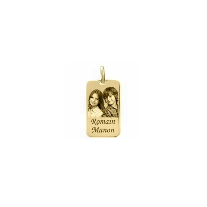 Médaille rectangle plaqué or gravé avec une photo