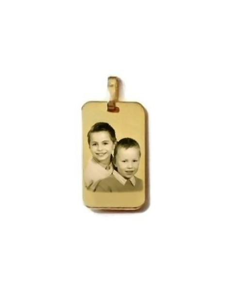Médaille rectangle plaqué or grand format gravé avec une photo