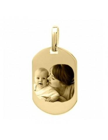 Photo gravée sur une médaille tonneau Plaqué or