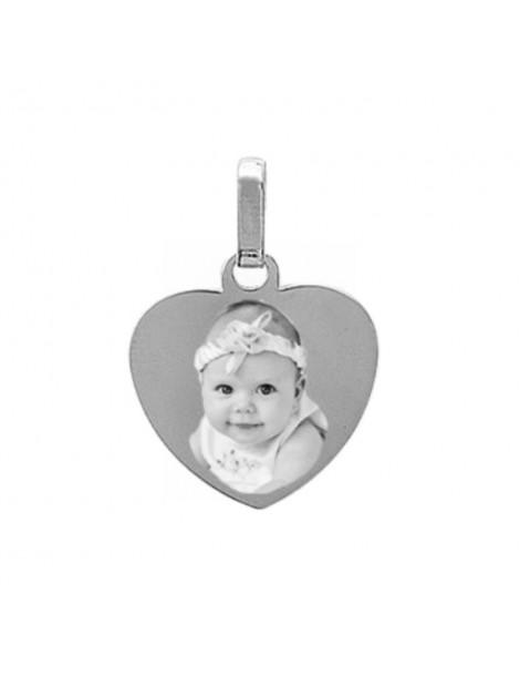 Médaille coeur Argent gravé avec une photo.
