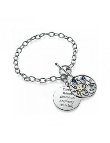 Bracelet argent double pendentif arbre de vie et prénoms