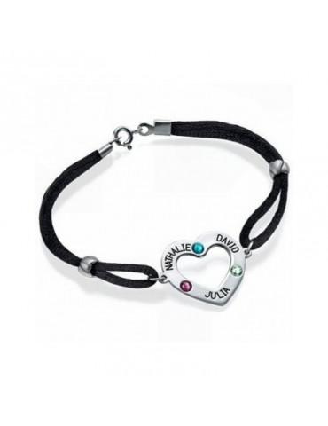 Bracelet avec médaillon coeur argent avec prénom gravé