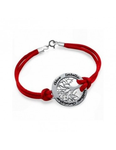 Bracelet avec médaille arbre de vie argent avec prénoms