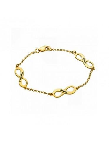 Bracelet avec médaillons infinis plaqué or avec prénoms