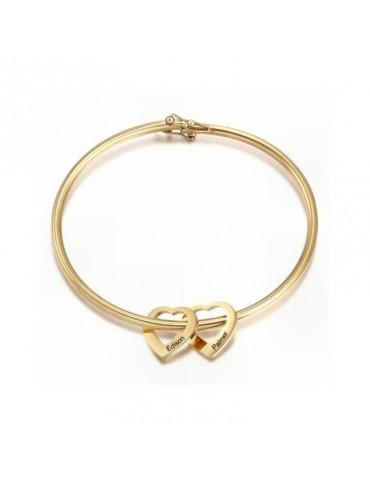 Bracelet avec deux cœurs en...