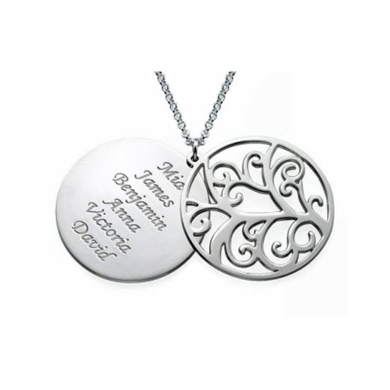 Collier argent double pendentif arbre de vie et prénoms
