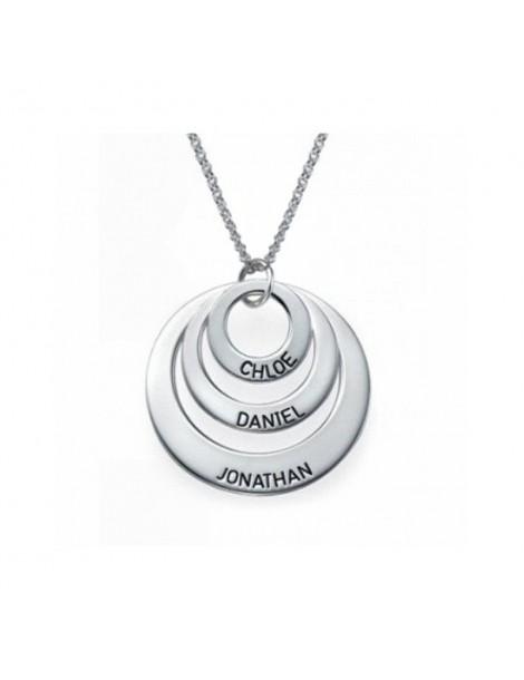 Collier trois anneaux argent gravé avec vos prénoms