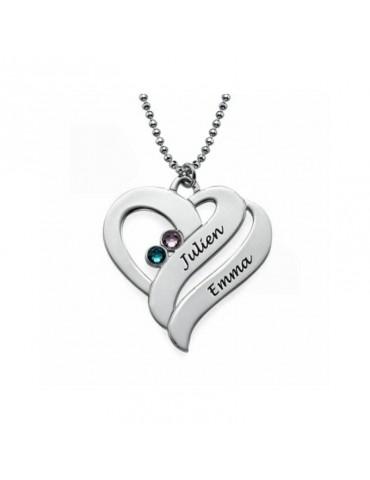 Pendentif coeur argent avec pierres de naissance
