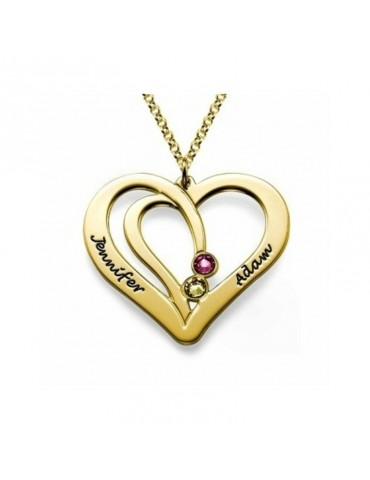Médaille coeur plaqué or avec prénom