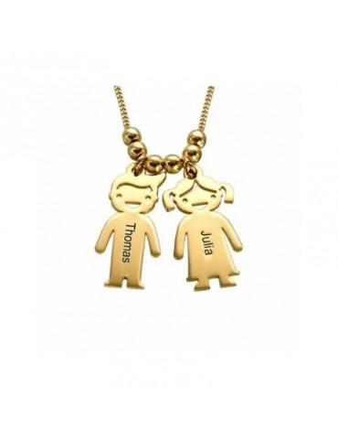 Collier avec pendentifs enfants en plaqué or
