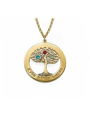 Collier cercle arbre de vie en plaqué or avec pierres de naissances