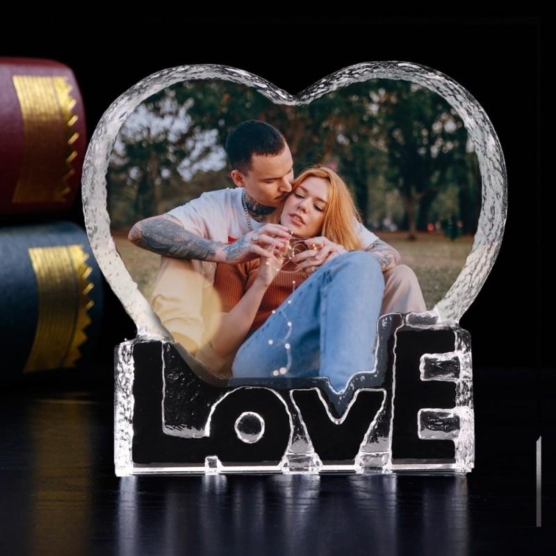 Bloc cristal love en forme de coeur personnalisé avec une photo en couleur