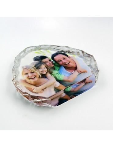 Bloc en cristal gravé avec la photo de votre choix vue du dessus