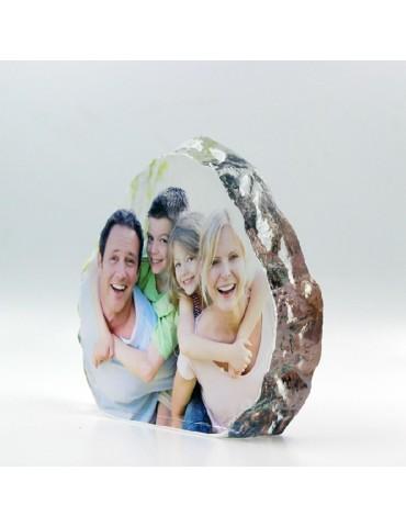 Bloc en cristal gravé avec la photo de votre choix vue de profil