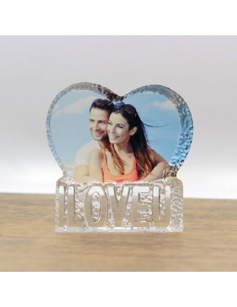 """Bloc cristal en forme de coeur personnalisé avec une photo et gravé de l'inscription """"i love u"""""""
