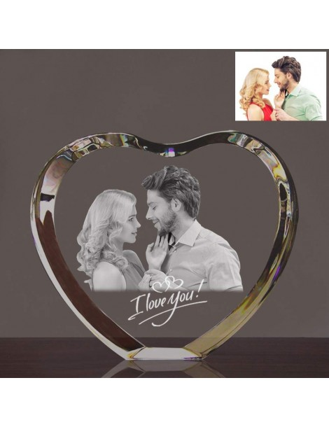 Coeur en cristal gravé au laser avec votre photo