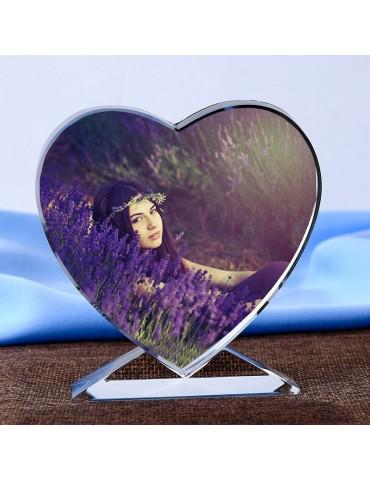 Cœur cristal avec votre photo en couleur