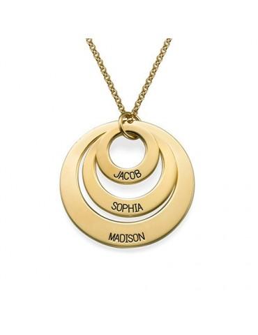 Collier trois anneaux plaqué or