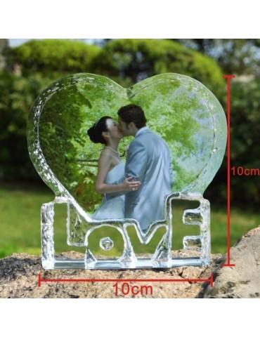 Bloc cristal love en forme de cœur personnalisé avec une photo en couleur pour une idée cadeau originale