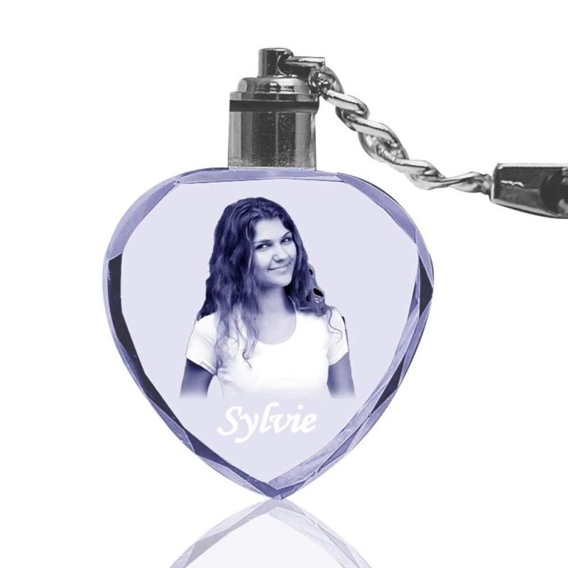 Porte-clés coeur en cristal gravé au Laser avec votre photo