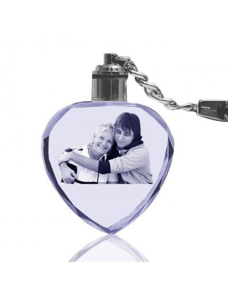 Bloc porte-clés cœur en cristal gravé au Laser.