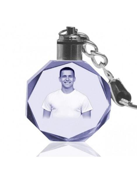 Porte-clefs en cristal gravé au Laser avec votre photo