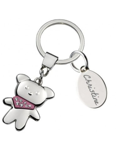Porte clé ourson personnalisé avec une gravure