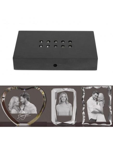 Support rectangulaire 10 leds pour bloc photo gravé au laser