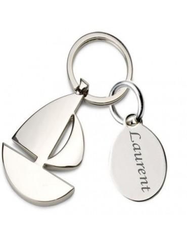 Porte clés voilier personnalisé avec une gravure