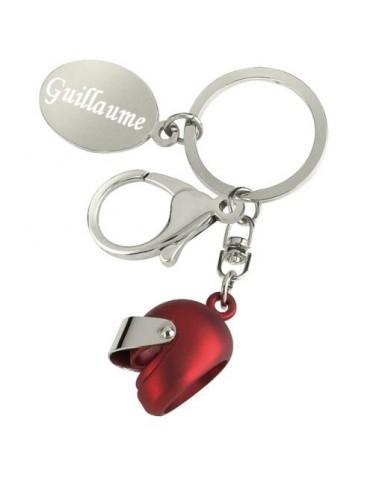 Porte clés casque de moto rouge personnalisé avec une gravure