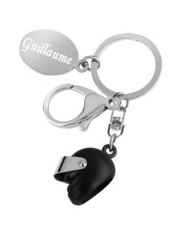 Porte clés casque de moto noir personnalisé avec une gravure
