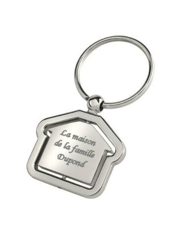 Porte clés maison gravé avec un texte
