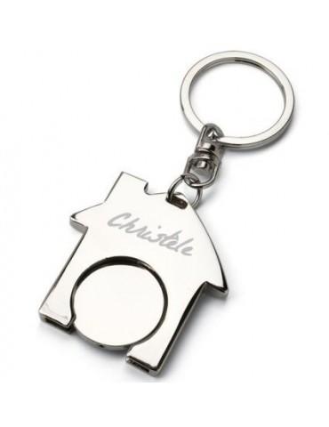 Porte clés maison gravé avec pièce de caddie intégrée