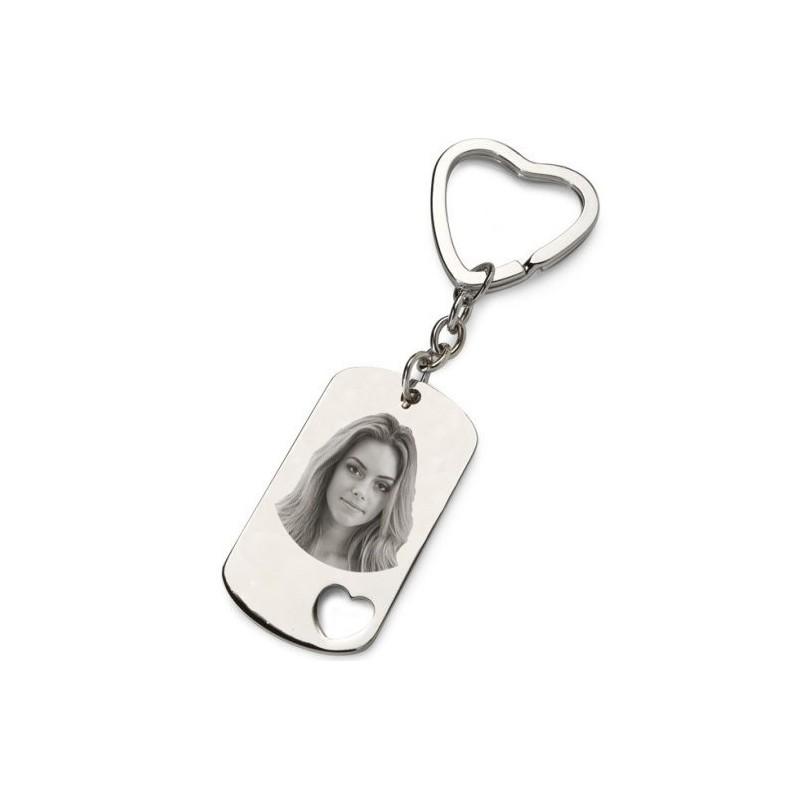 Porte clés photo plaque coeur gravé