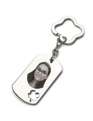 Porte clés photo plaque trèfle gravé