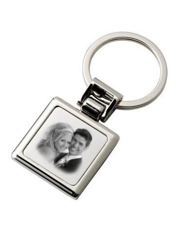 Porte clés carré avec une photo gravée