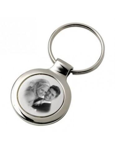 Porte clés rond avec une photo gravée