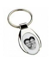Porte clés ovale avec une photo gravée