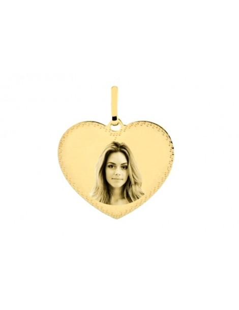 Pendentif cœur en or 18 carats bordure pointillé gravé avec une photo