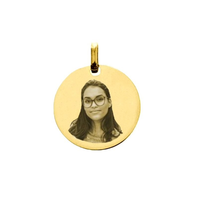 Médaillon rond frisé en or 9 carats gravé avec votre photo