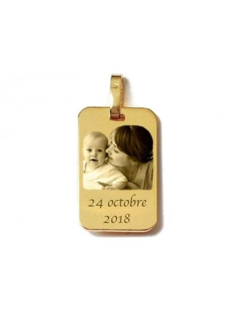 Médaille or 18 carats gravée rectangle format moyen