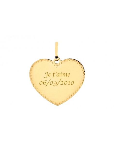 Pendentif cœur en or 18 carats bordure pointillé gravé avec un texte