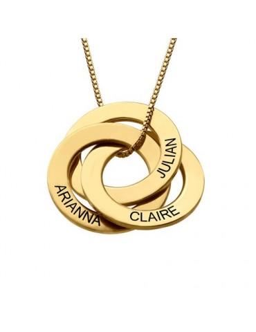 Collier trois anneaux gravés en plaqué or 18 cts